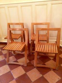Serie de quatre chaises pliantes vintage Aldo Jacober