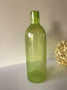 Vase soliflore carafe ou bouteille en verre bullé épais