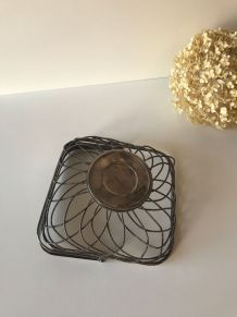 Corbeille à fruit en métal argenté, panier ancien