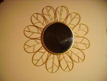 Paire de miroirs vintage en métal doré