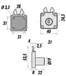 Serrure de meuble à crochets RONIS - Réf 6900-01