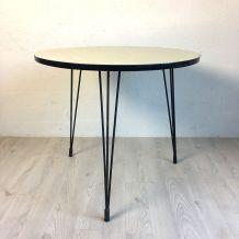 Table d'appoint en formica beige vintage 60's