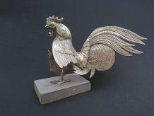 Sculpture de coq de combat en métal argenté