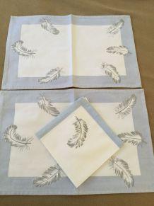 2 Sets de table en coton et 3 petites serviettes