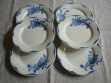 6 assiettes plates Digoin Sarreguemines fleurs bleues