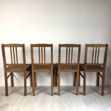 "Ensemble de 4 chaises ""ELF Indislocables"" vintage 50's"
