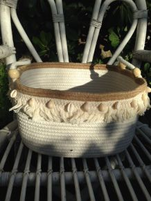 Corbeille coton/jute  coquillages