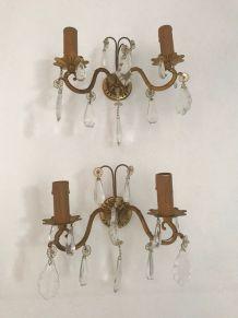 Paire d'appliques anciennes style Louis XV à papilles