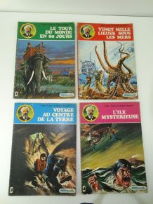 4 BD JULES VERNE agéducatifs 1977 dessin de julio bosch