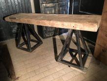 Console industrielle bois massif et fer forgé