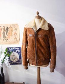 Blouson vintage aviateur en cuir daim