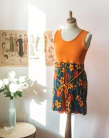 Magnifique Robe orange style seventies Made in france