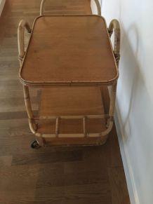 Table roulante rotin  années 50/60