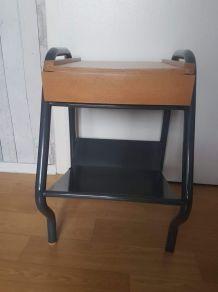 Table de chevet des années 50 tiroir bois et chassis métal