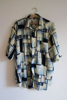 Chemise vintage 70s motifs géometrique