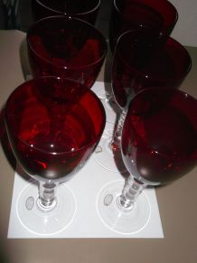 6 verres à pied rouge 1966 Kromer