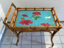 servante rotin céramique style Vallauris signée