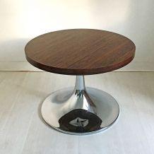 Table basse vintage 70's pied tulipe alu