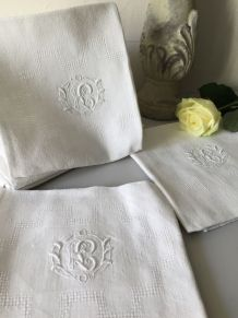 6 serviettes de table monogramme