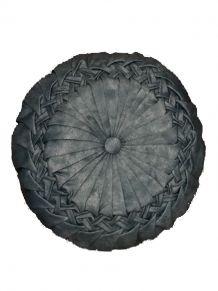 Coussin rond en coton plissé effet satiné 40cm