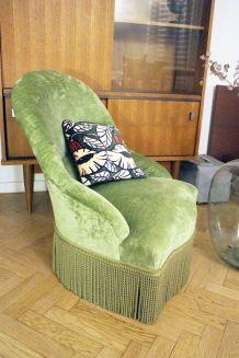 RARE - Fauteuil crapaud velours vintage vert amande 1970's