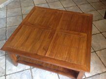 Table Basse Acacia massif et Bambou Pointé