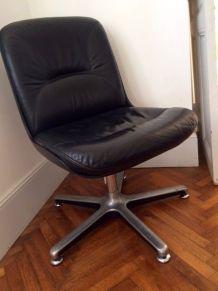 Fauteuil de bureau en cuir noir vintage