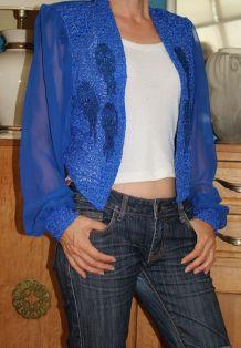 veste bleu électrique broderie T38-40