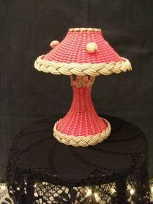 Lampe mushroom scoubidou années 60