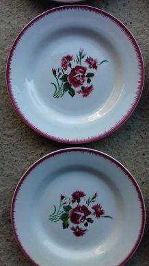 "6 assiettes Digoin Sarreguemines ""Bouquet fleuri"""