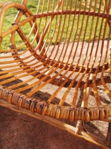 Lot de 2 fauteuils en bambou et rotin
