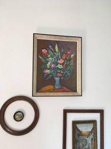 Tableau nature morte bouquet de fleurs.