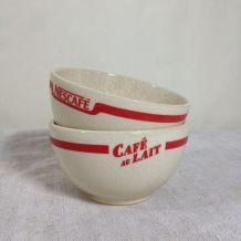 Paire de bols vintage Nescafé Café au lait