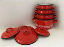 Cocottes marmites JAPY métal émail rouge