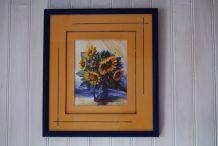 Le bouquet de tournesols symphonie en bleu et or