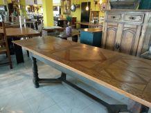 Table à rallonge en chêne de style vintage. Long max.284*84