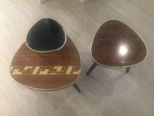 Lot Petites tables Tripode, authentique, vintage en formica.