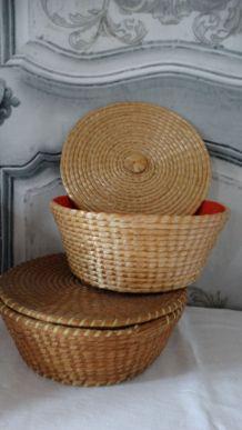 Vintage rotin boites à coudre ronde avec couvercle