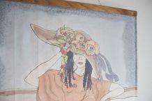 peinture sur soie cadre