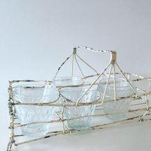 Ancien panier à verres en fil de fer