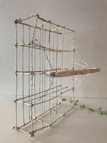 Très ancien panier à verre en fil de fer