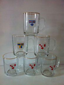 6 mugs , verres publicitaire MObil
