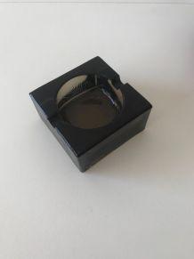 Cendrier vintage carré en verre brun