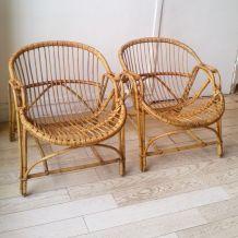 Paire de fauteuils corbeille rotin vintage