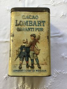 Boîte en métal cacao Lombard à sujets en relief