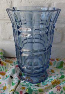 Grand Vase Art Déco Bleu en Verre CIRCA 30/40