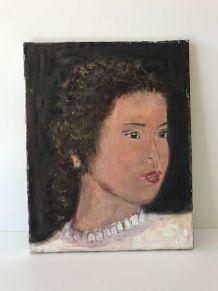 Portrait huile sur toile jeune femme