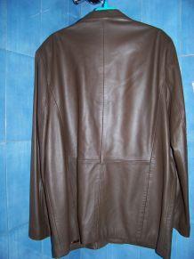 veste droite cuir marron XXL