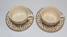2 tasses et leurs sous-tasses en grès Capuccino