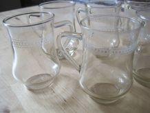 7 verres a thé café ancien avec  frise vintage